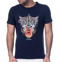 Scorp Hr-9000 Hard Rock Lacivert Baskılı Erkek Tişört