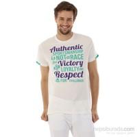 Kappa 1 3026QT0 001L Erkek Baskılı T-shirt Beyaz