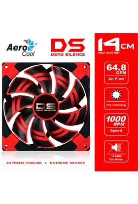 """Aerocool """"Dead Silence"""" 14cm Kırmızı Ledli Sessiz Kasa Fanı (AE-CFDS140RD)"""