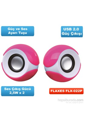 Flaxes FLX-022 2.0 PMPO 130W USB Pembe Speaker