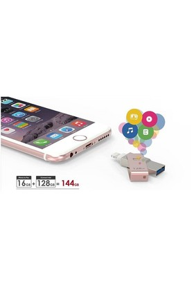PQI iConnect 32GB mini USB 3.0 iPhone/iPad/iPod Roza Altın USB Bellek