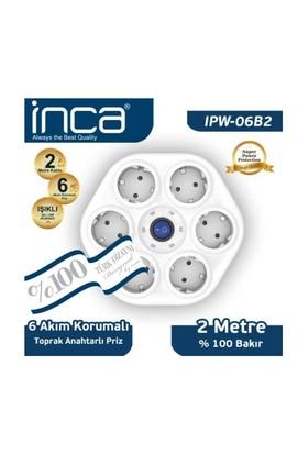 Inca 6'lı Oval Akım Korumalı Işıklı 2M Beyaz Priz (IPW-06B2)