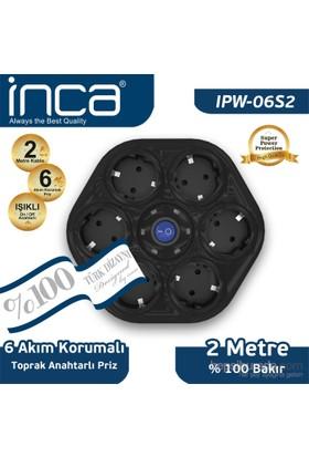 Inca 6'lı Oval Akım Korumalı Işıklı 2M Siyah Priz (IPW-06S2)