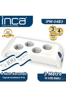 Inca 4'lü Akım Korumalı 3M Beyaz Priz (IPW-04B3)