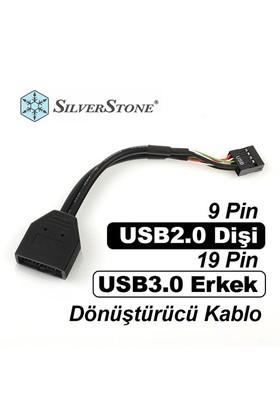 Silverstone 9 Pin USB2.0 Dişi - 19 Pin USB3.0 Erkek Dönüştürücü Kablo (SST-G11303050)