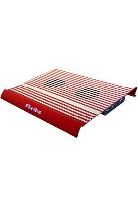 """Flaxes FN-3333K Alüminyum 7""""-17"""" Sessiz Çift Fanlı Kırmızı Notebook Soğutucu"""