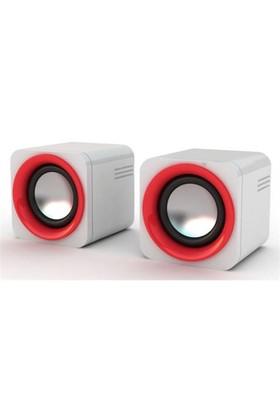 Snopy SN-14 2.0 3W*2 Beyaz/Kırmızı Usb Speaker (9247)
