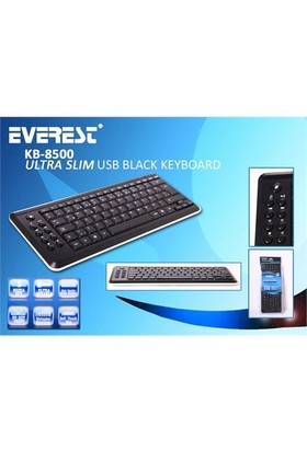 Everest Kb-8500 Ultra Slim Multimedia Klavye (Siyah)