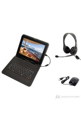 """Mobee 9.7"""" Ayaklı Siyah Micro USB Türkçe Klavyeli Tablet Kılıfı + Mouse + Mikrofonlu Kulaklık"""