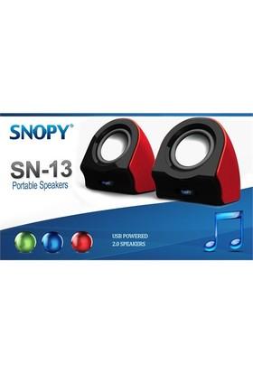 Snopy SN-13 2.0 3W*2 Siyah/Kırmızı Usb Speaker (9243)