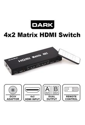 Dark Full HD 4 Giriş 2 Çıkışlı 4x2 Matrix Uzaktan Kumandalı HDMI Switch (Seçici) (DK-HD-SW4X2)