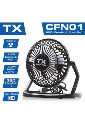 TX 360 Derece hareketli Sessiz Masaüstü USB Siyah Fan (TXACFN01)