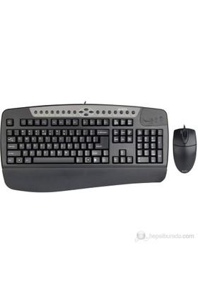 A4 Tech KB-8620DB Q-TR Multimedya Siyah Klavye + Mouse Seti