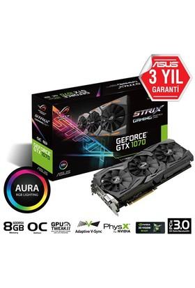 Asus ROG STRIX Nvidia GeForce GTX 1070 OC 8GB 256Bit GDDR5 (DX12) PCI-E 3.0 Ekran Kartı (STRIX-GTX1070-O8G- Gaming)