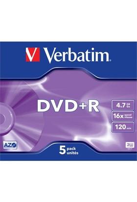 Verbatim DVD+R 4.7GB 16X Hızında 5'li Kutu 43497