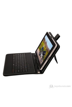 """Mobee 8"""" Ayaklı Micro USB Türkçe Klavyeli Siyah Tablet Kılıfı"""