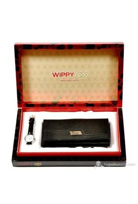 Wippy Siyah Kadın Cüzdan & Saat Hediyeli (Hediyelik Özel Kutusıyla!...)