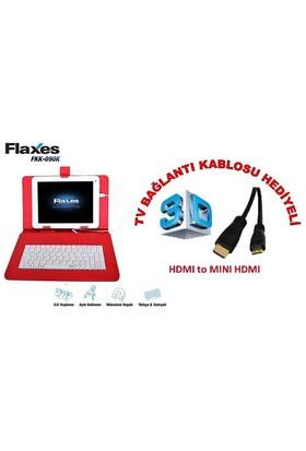 """Flaxes FKK-090K Universal 9"""" Klavyeli Kırmızı Tablet Kılıfı + TV Bağlantı Kablosu Hediyeli"""