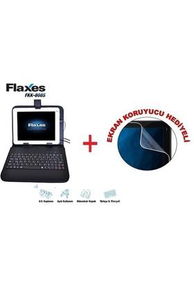 """Flaxes FKK-808S Universal 8"""" Klavyeli Siyah Tablet Kılıfı + Ekran Koruyucu Hediyeli"""
