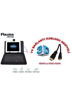 """Flaxes FKK-909S Universal 9"""" Klavyeli Siyah Tablet Kılıfı + TV Bağlantı Kablosu Hediyeli"""