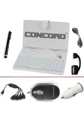 """Concord 7"""" Uyumlu Multi Hediye Paketli Beyaz Klavyeli Kılıf Standlı"""