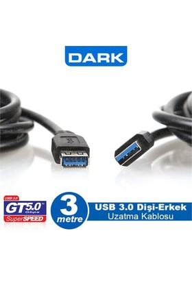 Dark USB 3.0 3m Uzatma Kablo USB 3.0 A Tip (DK-CB-USB3EXTL300)