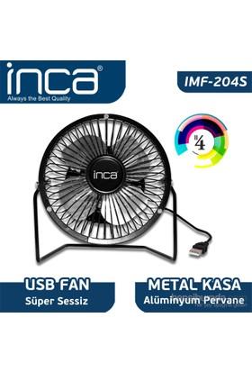 "Inca IMF-204S Masaüstü Metal Fan + Alüminyum Pervane Siyah 4"""