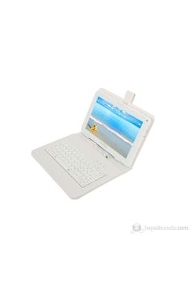 """Mobee 9"""" Klavyeli Mikro USB Beyaz Tablet Kılıfı"""