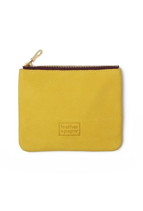 Leather&Paper Sarı Deri Mini Çanta