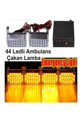 Escort Ambulans Çakarlı Lamba Sarı-Sarı Küçük 44Ledli