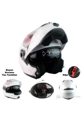 LS2 Motosiklet Kaskı Çene Açılır FF370 Easy Beyaz L Beden