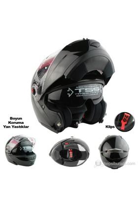 LS2 Motosiklet Kaskı Çene Açılır FF370 Easy Parlak Siyah XL Beden