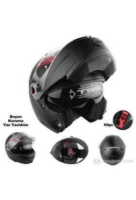 LS2 Motosiklet Kaskı Çene Açılır FF370 Easy Mat Siyah L Beden