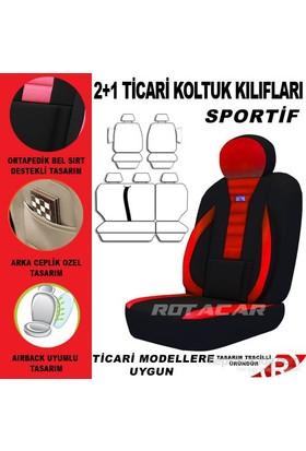 Rotacar Opel Combo Koltuk Kılıf Seti 3N Ortapedik - Kırmızı Siyah