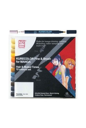 Zig Kurecolor Fine & Brush For Manga Hair & Muted Tones 12 Renk Blister Ambalaj