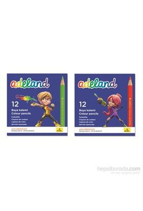 Adeland Karton Kutu Boya Kalemii 12 Renk Yarım Boy