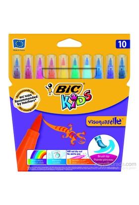 Bic Visa Fırça Uçlu Keçeli Boya Kalemi 10'lu Kutu