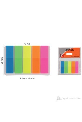 3A Yapışkanlı Ayraç 5 Renk x 25 Adet (İşaret Bandı)