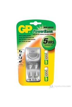 GP Powerbank Mini Quick 1000 Şarj Cihazı GP1000 Şarj Edilebilir İnce Kalem Pil Hediyeli