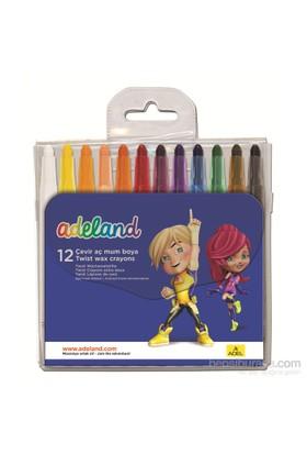 Adeland Çevir-Aç Mum Boya 12 Renk