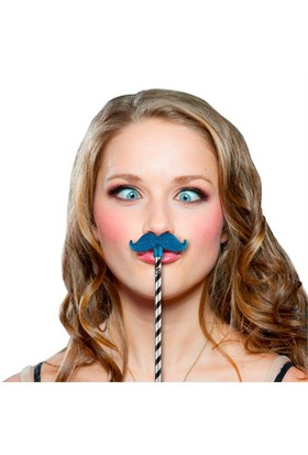 Npw Glıtter Moustache Toppers Blue