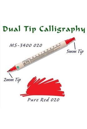 Zig Calligraphy Pen Çift Uçlu Kaligrafi Kalemi 2 Mm - 5 Mm Pure Red