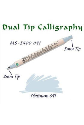 Zig Calligraphy Pen Çift Uçlu Kaligrafi Kalemi 2 Mm - 5 Mm Platinum