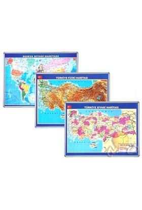 İnter 70x100 Dünya Siyasi Haritası Alüminyum Çerçeveli INT-817