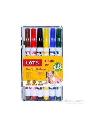 Lets 6 Renk Yarım Boy Plastik Kutu Keçeli Kalem L-7106