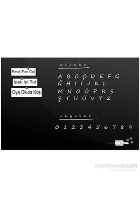 Tilki Dünyası 60X90cm Siyah Temperli Dekoratif Cam Yazı Tahtası