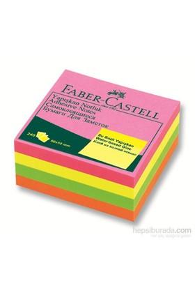 Faber-Castell Yapışkan Notluk 50x50mm Karışık Fosforlu Renkli Mini Küp