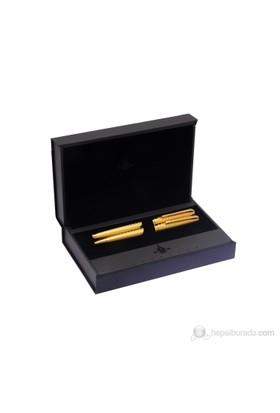 Steelpen Gold Desenli Dolma Kalem + Tükenmez 268