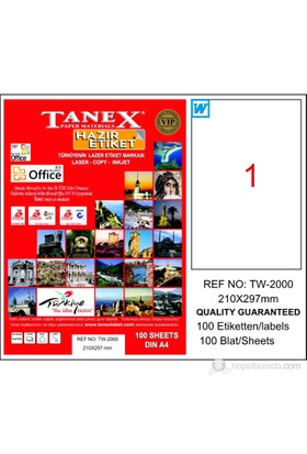Tanex TW-2000 210x297 mm Laser Etiket 100 Ad.