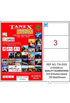 Tanex TW-2003 210x99 mm Laser Etiket 100 Ad.